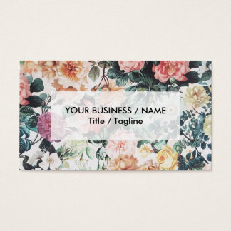 Vintage green pink yellow watercolor roses floral. business card