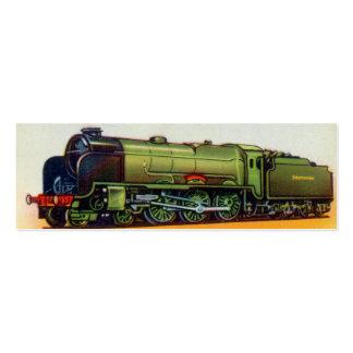 Vintage Green Railroad Engine Mini Business Card