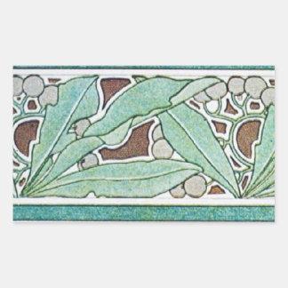 Vintage Green Rectangular Sticker