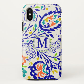 Vintage Green Royal Blue Damask Monogram iPhone X Case