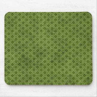 Vintage Green Rustic Diamond Pattern Mouse Pad
