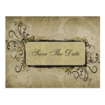 vintage green  save the date announcement postcard