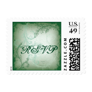 Vintage green scroll leaf RSVP stamp