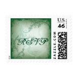 Vintage green scroll leaf RSVP stamp