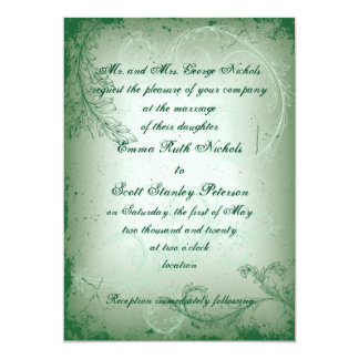 Vintage green scroll leaf wedding invite