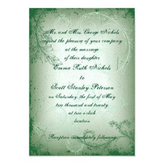 Vintage green scroll leaf wedding invite custom announcements