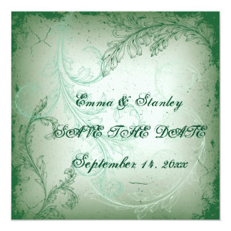 Vintage green scroll leaf wedding Save the Date Card