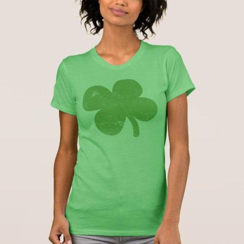 Vintage Green Shamrock Ladies Tee Shirt