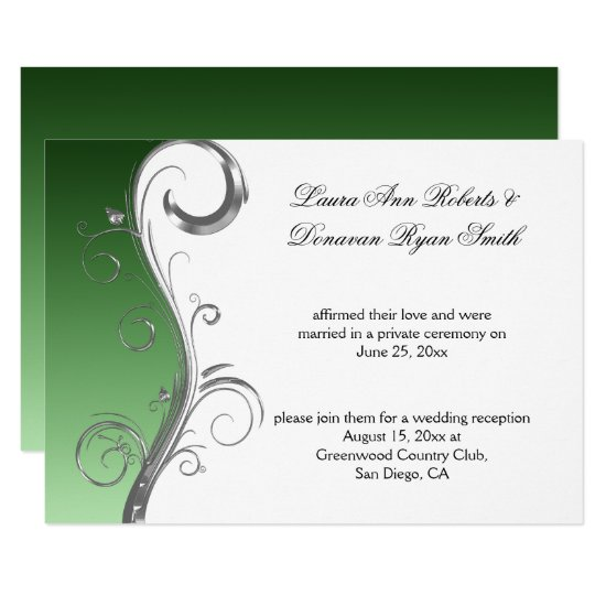 Vintage Green Silver White Ornate Post Wedding Invitation