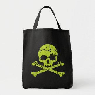 Vintage Green Skull and Crossbones Tote Bags
