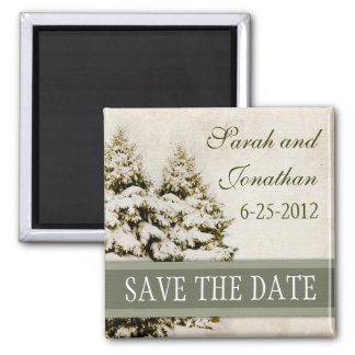 Vintage Green Snowflakes Save The Date Magnet