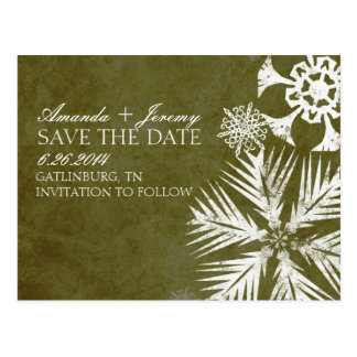 Vintage Green Snowflakes Save the Date Postcard