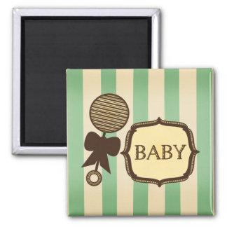 Vintage Green Stripes Rattle Baby Shower Favor 2 Inch Square Magnet