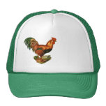 Vintage Green Tail Feathers Rooster Cockerel Trucker Hats