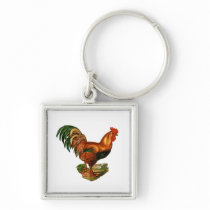 Vintage Green Tail Feathers Rooster Cockerel Keychain