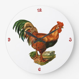 Vintage Green Tail Feathers Rooster Cockerel Large Clock