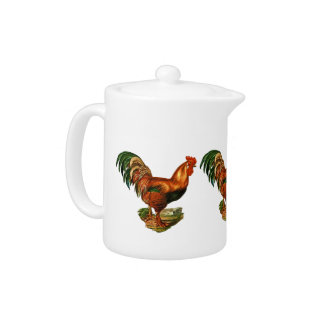 Vintage Green Tail Feathers Rooster Cockerel Teapot