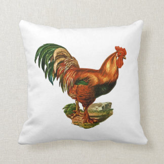 Vintage Green Tail Feathers Rooster Cockerel Throw Pillow