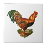 Vintage Green Tail Feathers Rooster Cockerel Tiles