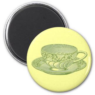 Vintage Green Tea Cup Magnet