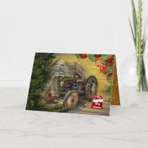 Vintage Green Tractor Barn Christmas Holiday Card