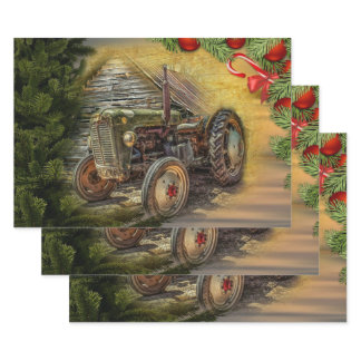 Vintage Green Tractor Barn Christmas Wrapping Paper Sheets