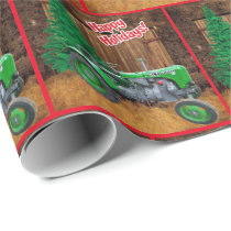 Vintage Green Tractor By Barn  Christmas Wrapping Paper