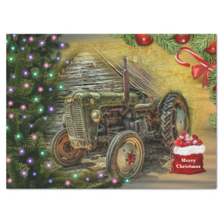 Vintage Green Tractor Christmas Tissue Paper