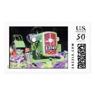 Vintage Green Tractor Purple Flowers Postage