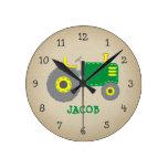 Vintage Green Tractor Rustic Nursery Round Clock