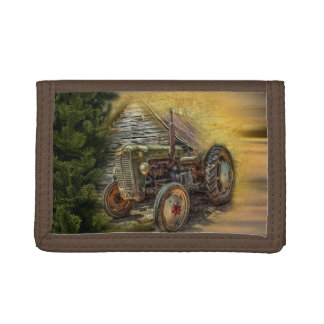 Vintage Green Tractor Rustic Old Barn Trifold Wallet