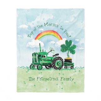 Vintage Green Tractor Shamrock Add Family Name Fleece Blanket