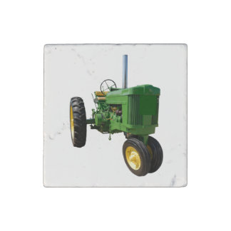 Vintage Green Tractor Stone Magnet
