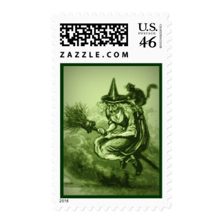 Vintage Green Ugly Flying Witch and Cat Halloween Postage Stamps