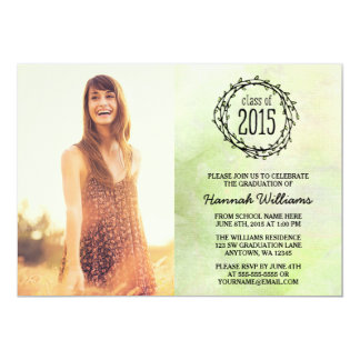 "Vintage Green Vines 2015 Photo Graduation 5"" X 7"" Invitation Card"