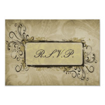 vintage green wedding RSVP standard 3.5 x 5 Card