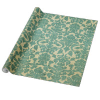 Vintage Green White Floral Damask Pattern Wrapping Paper