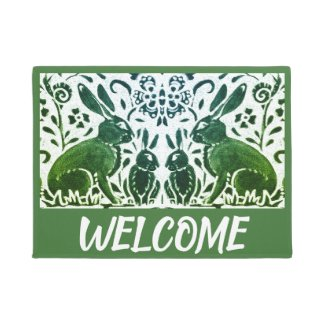 Vintage Green White Rabbit Hare Foliage Welcome Doormat