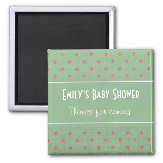 Vintage Green with Pink Polka Dots Baby Shower 2 Inch Square Magnet