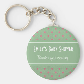 Vintage Green with Pink Polka Dots Baby Shower Basic Round Button Keychain
