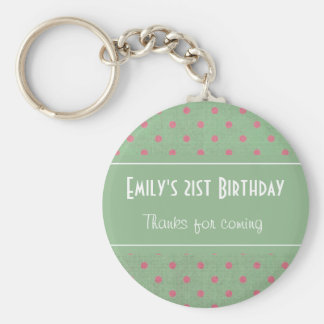 Vintage Green with Pink Polka Dots Birthday Keychain