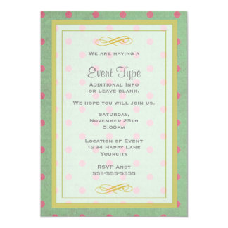 Vintage Green with Pink Polka Dots Generic Party Card