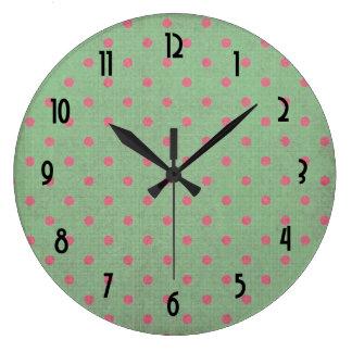 Vintage Green with Pink Polka Dots Pattern Wallclock