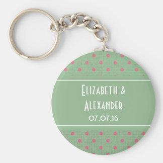 Vintage Green with Pink Polka Dots Wedding Basic Round Button Keychain