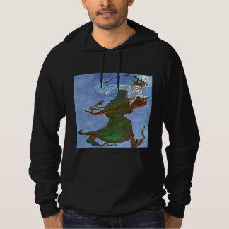 Vintage Green Wizard Reading Spell Book Hoodie