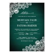Vintage Green Wood Lace Islamic Muslim Wedding Invitation