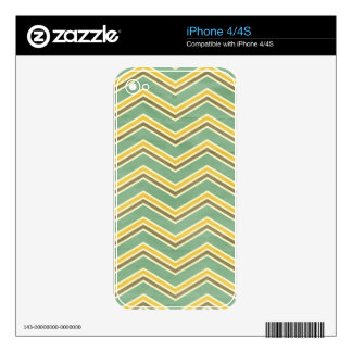Vintage Green Yellow Chevron Skin For The iPhone 4