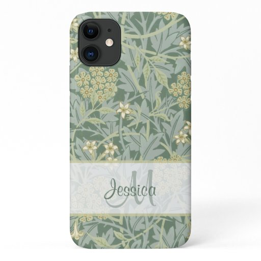 Vintage Greenish Floral Jasmine by William Morris iPhone 11 Case