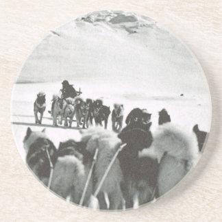 Vintage Greenland arctic dog teams Beverage Coaster