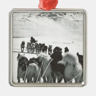 Vintage Greenland, arctic dog teams Metal Ornament